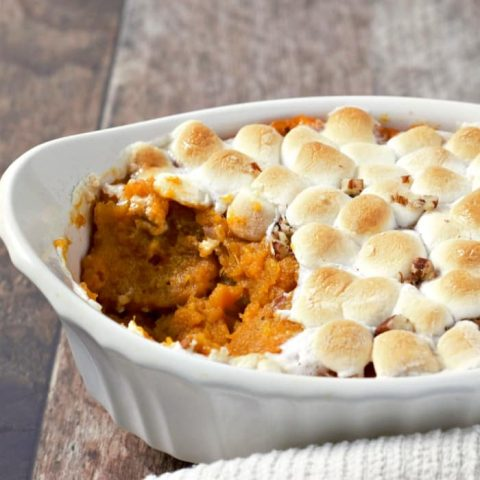 Sweet Potato Casserole with Pecans and Marshmallows serves 2