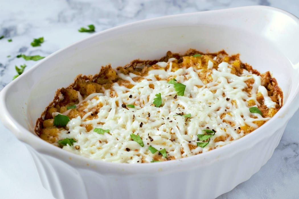 Mexican Street Corn Casserole baked in a dish