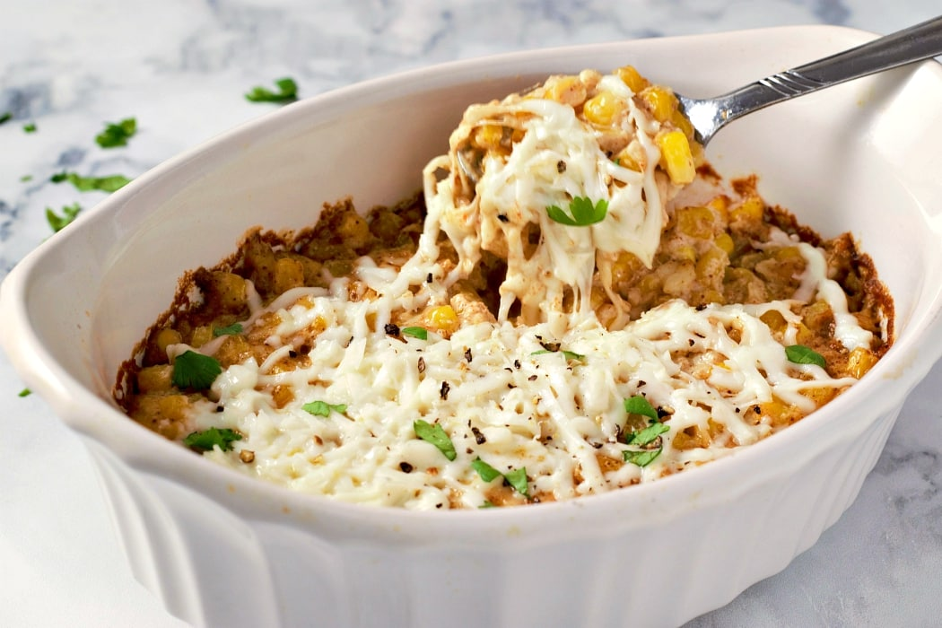 Mexican Street Corn Casserole with creamy melted cheese