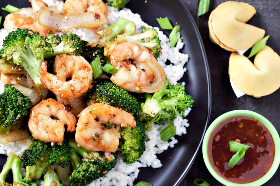 Shrimp and Broccoli Stir Fry with fortune cookies and sauce