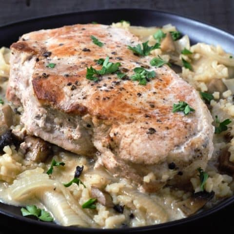Skillet Pork Chops and Mushroom Gravy with rice