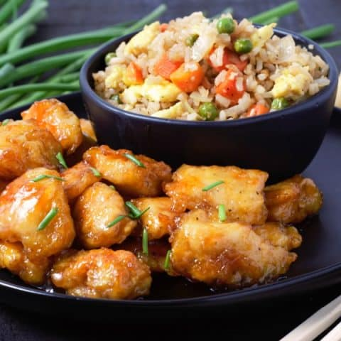 Baked Sweet and Sour Chicken with Homemade Fried Rice
