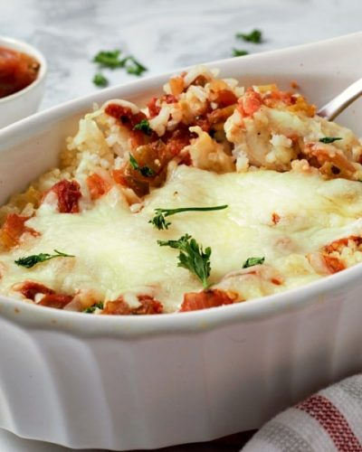 Cheesy Salsa Chicken and Rice Casserole