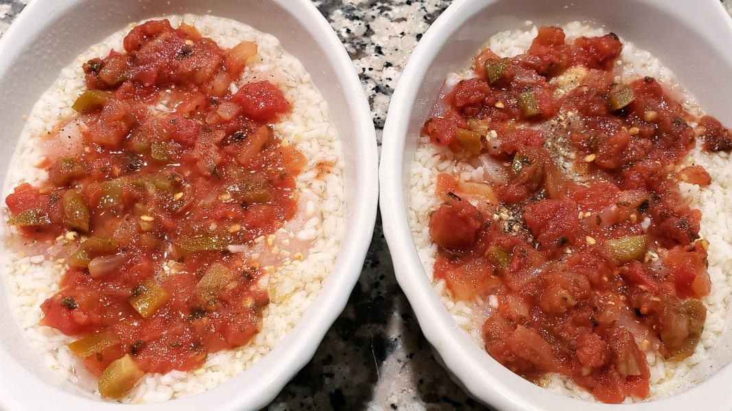 salsa on top of chicken, rice, and spices