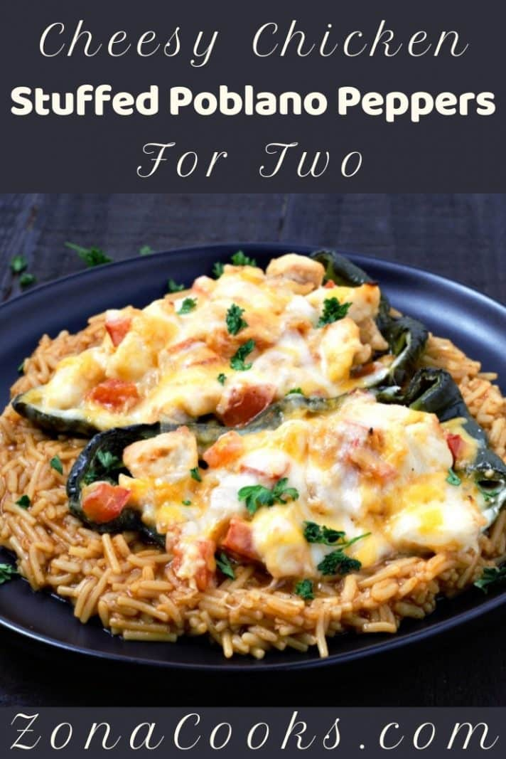 Chicken Cheese Stuffed Poblano Peppers Recipe for Two