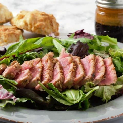 Sesame Seed Tuna Steak Salad with Asian Ginger Dressing
