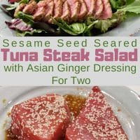 Sesame Seed Tuna Steak Salad with Asian Ginger Dressing Recipe for Two