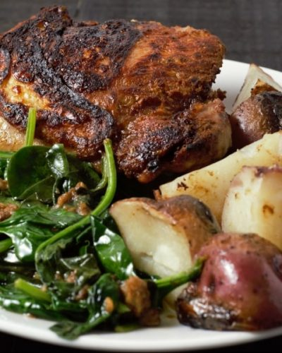 Skillet Chicken Thighs with Potatoes and Spinach