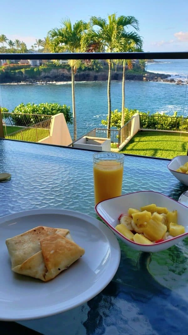 condo lanai view with breakfast on the table