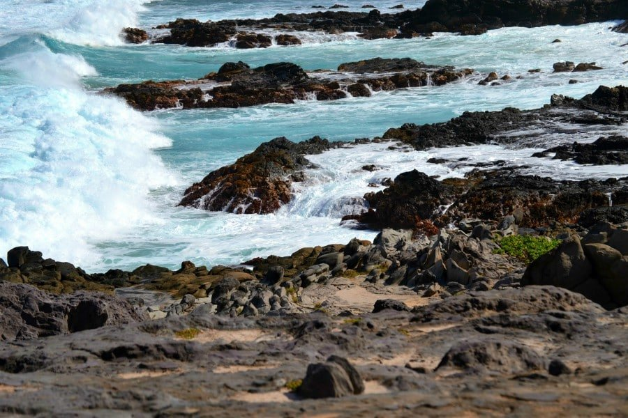 waves and lava rock along the Kapalua Coastal Trail