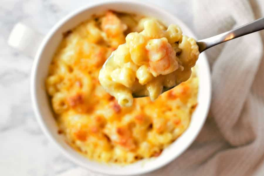 Baked Shrimp Mac and Cheese in a bowl