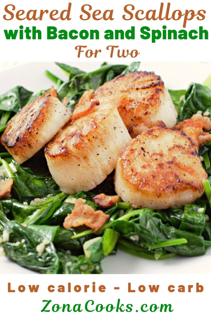 Seared Scallops with Spinach and Bacon Recipe for Two