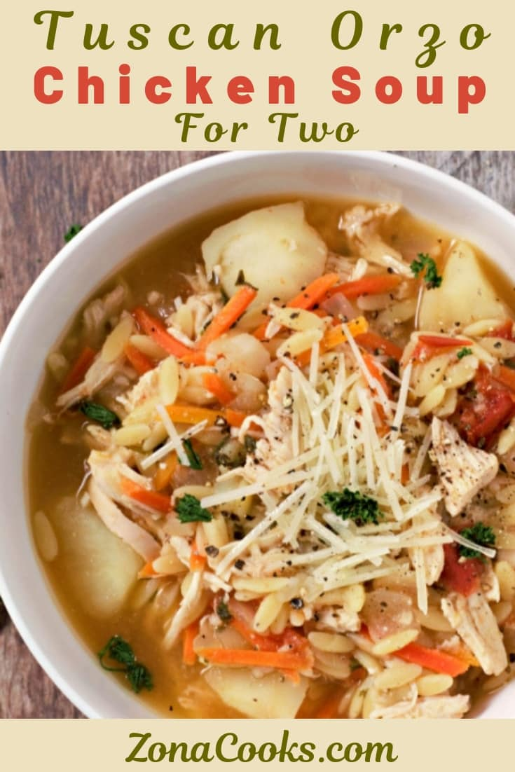 Tuscan Orzo Chicken Soup Recipe for Two