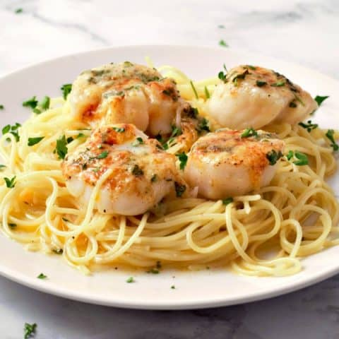 Baked Buttery Sea Scallops with Pasta serves 2