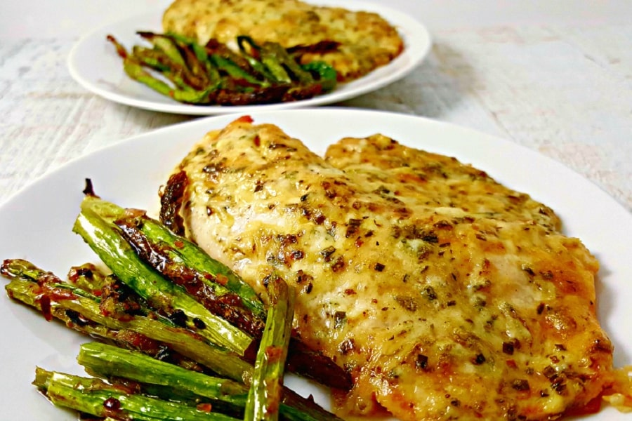 Broiled or Baked Tilapia Parmesan with asparagus