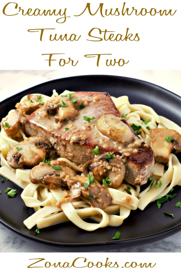 Creamy Mushroom Tuna Steaks Recipe for Two