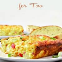 Ham and Cheddar Hash Brown Quiche Recipe for Two