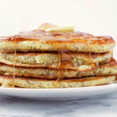 Lemon Poppy Seed Pancakes - makes 4 medium pancakes