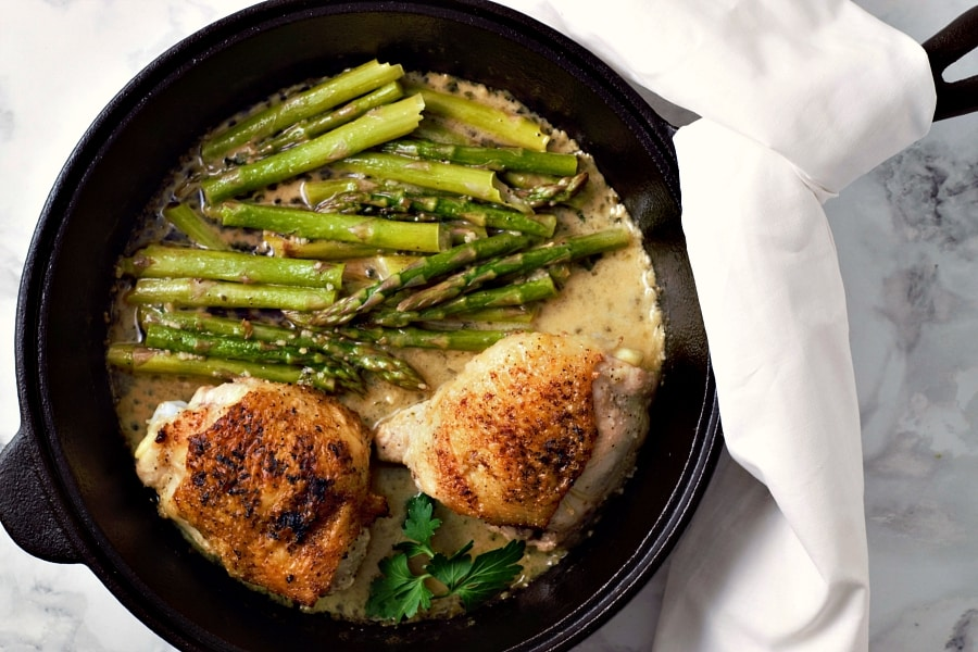 Skillet Chicken Thighs and Creamy Asparagus serves 2