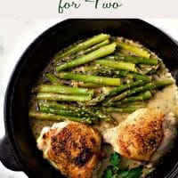 Skillet Chicken Thighs and Creamy Asparagus Recipe for Two