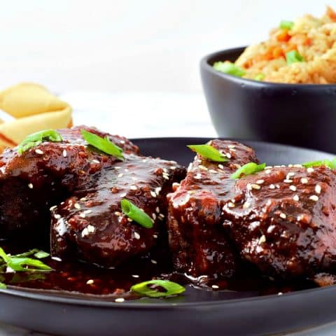 Slow Cooker Asian Country Pork Ribs with homemade fried rice and fortune cookies