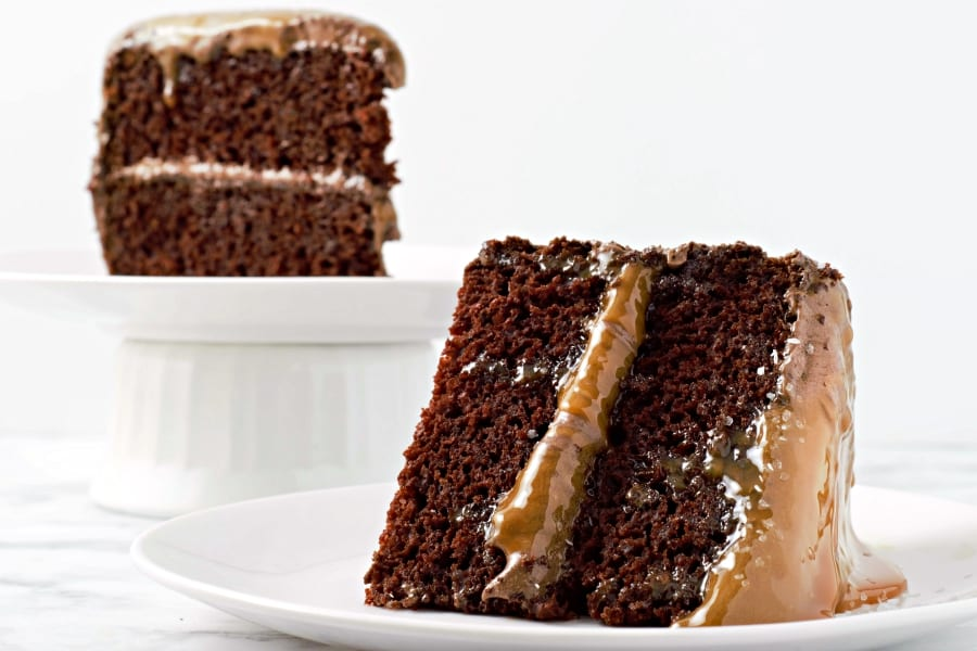 two slices of salted caramel chocolate cake