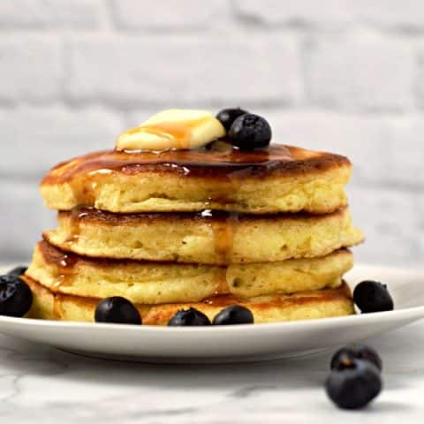 a stack of 4 homemade fluffy pancakes