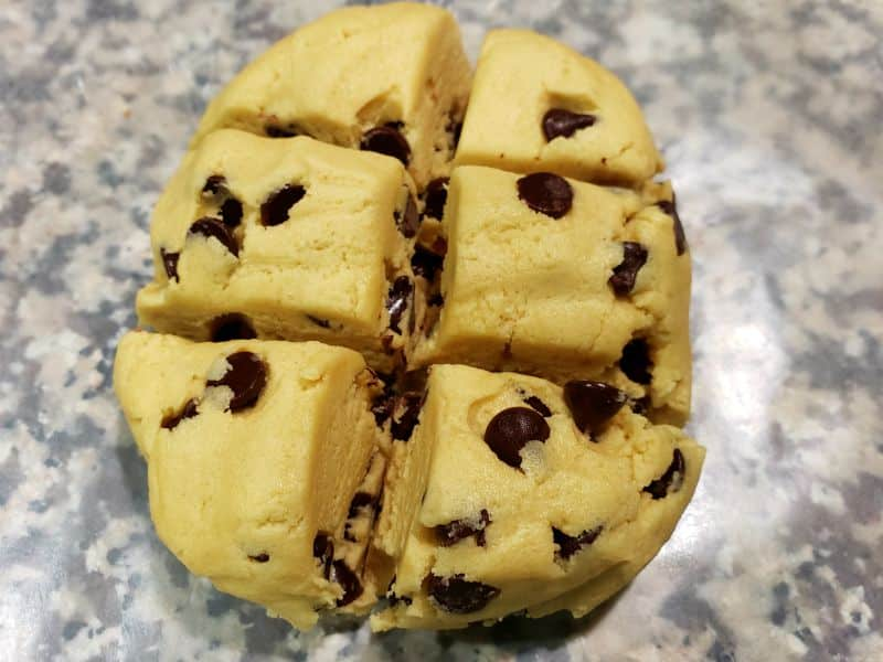 best soft batch cookie dough divided into 6 equal portions