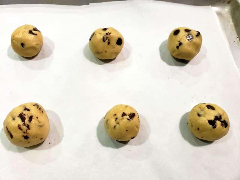 best soft batch cookie dough balls on a baking sheet