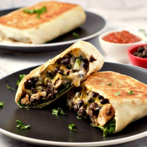 Crispy Chicken and Black Bean Chimichangas on plates
