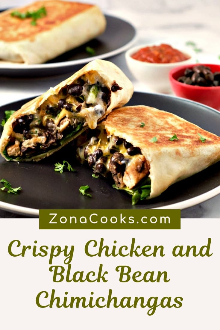 Crispy Chicken and Black Bean Chimichangas
