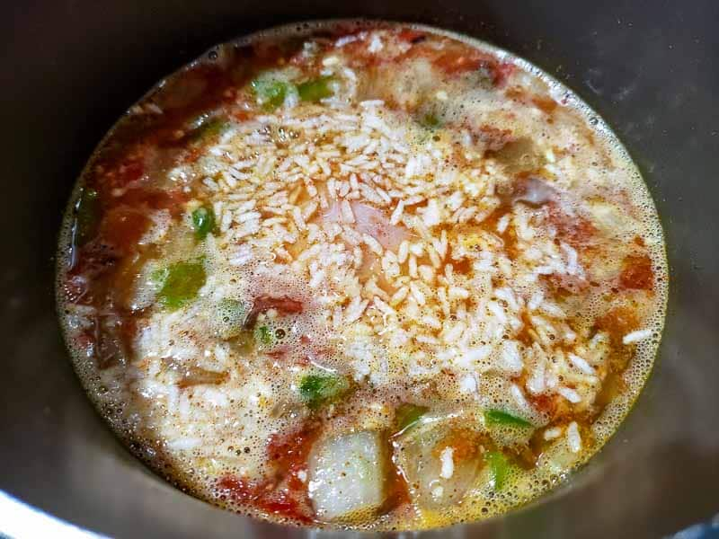 rice added to the chicken fajita soup