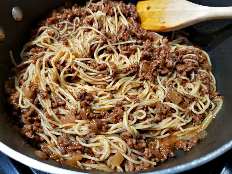 pasta added to the ground beef mixture