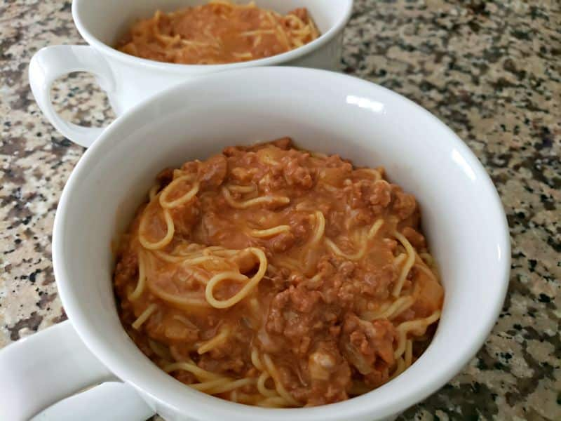 spaghetti casserole in two baking dishes