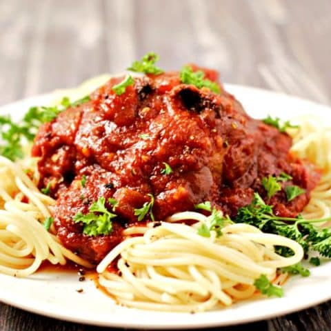 Slow Cooker Chicken Cacciatore and Spaghetti on a plate