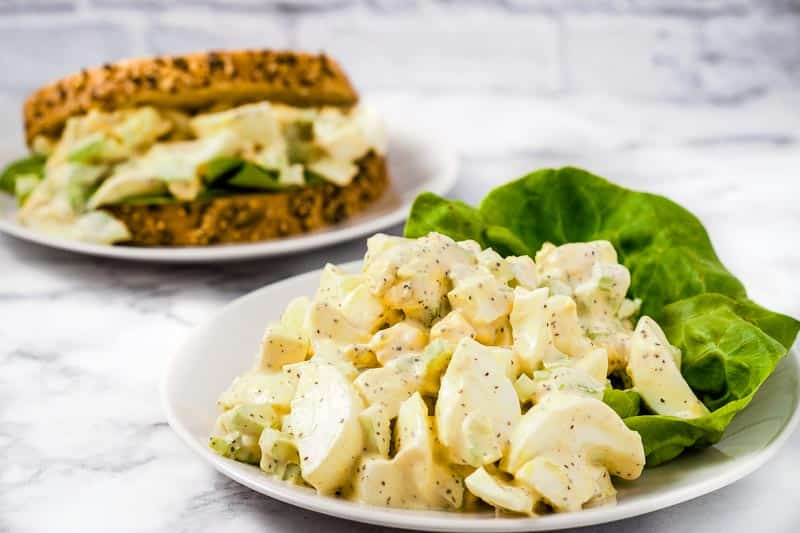 classic egg salad and a sandwich