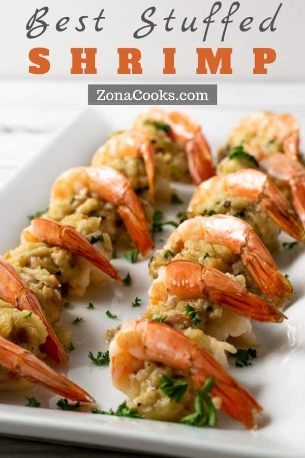 a graphic of easy butterflied and baked best stuffed shrimp on a platter