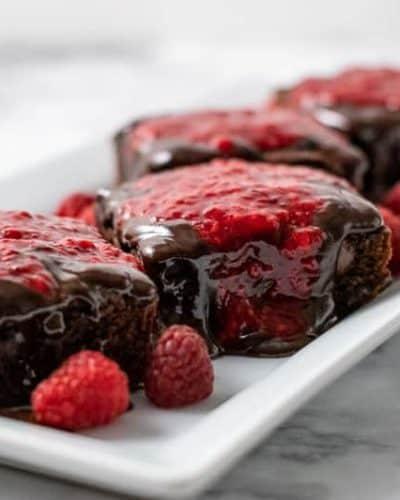 Brownies with Raspberry Sauce and Chocolate Ganache