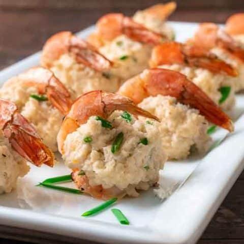 crab stuffed shrimp on a platter