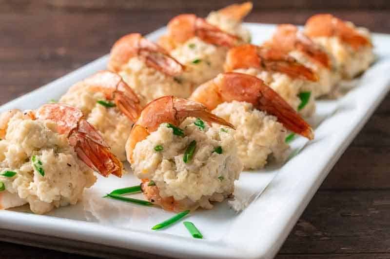 crab stuffed shrimp on a platter