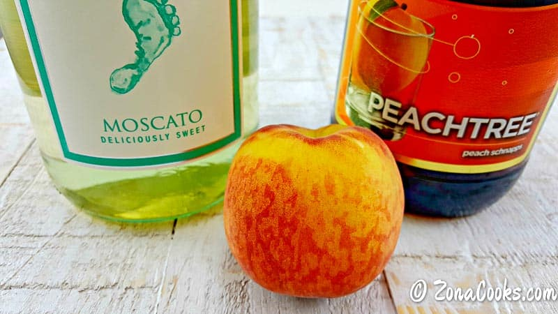 moscato, peachtree schnapps, and a peach