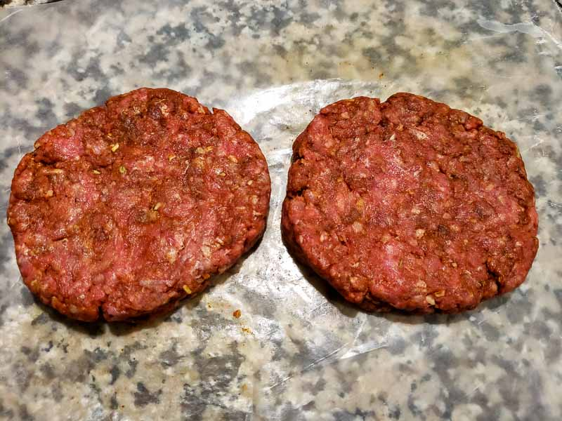 taco burgers formed into two patties