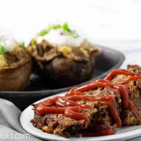 meatloaf with baked potatoes