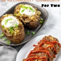 slow cooker meatloaf and baked potatoes for two
