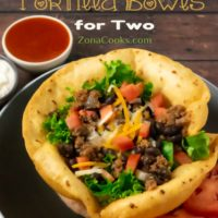 Taco Salad in Fried Tortilla Bowls for Two