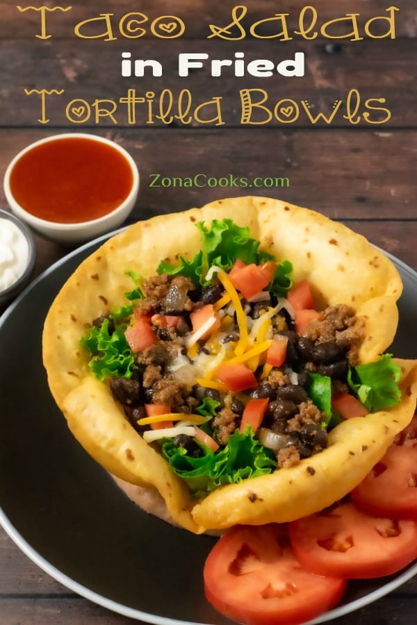 Taco Salad in Fried Tortilla Bowls