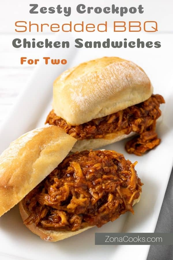 zesty crockpot shredded bbq chicken sandwiches for two