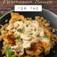 chicken with mushroom parmesan sauce for two