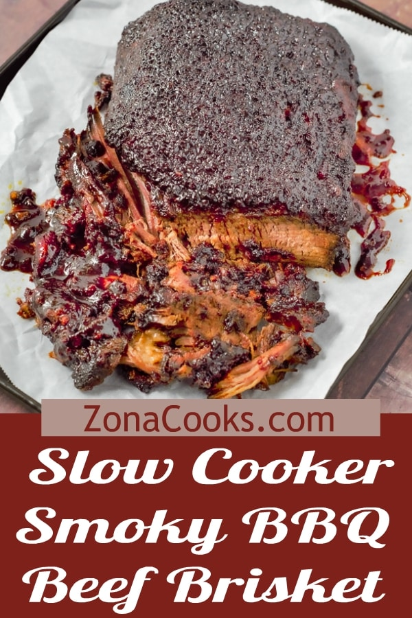 slow cooker smokey bbq beef brisket on a tray