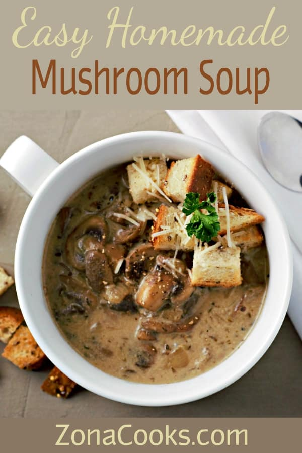 easy homemade mushroom soup in a bow